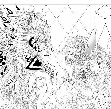 2016년도 재탕 한 고양이 무늬그림 (과정포함)