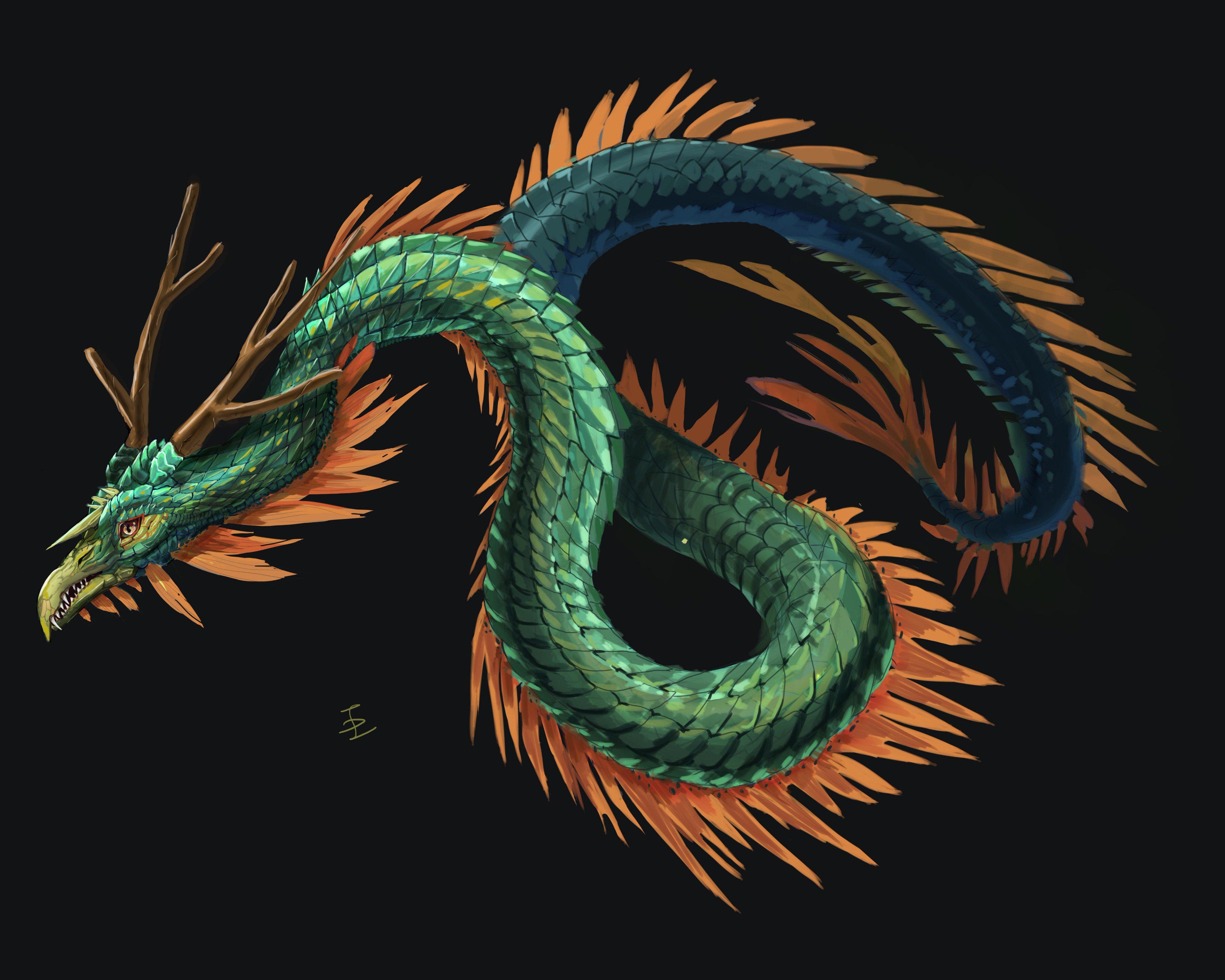 옥색 뱀같은 용