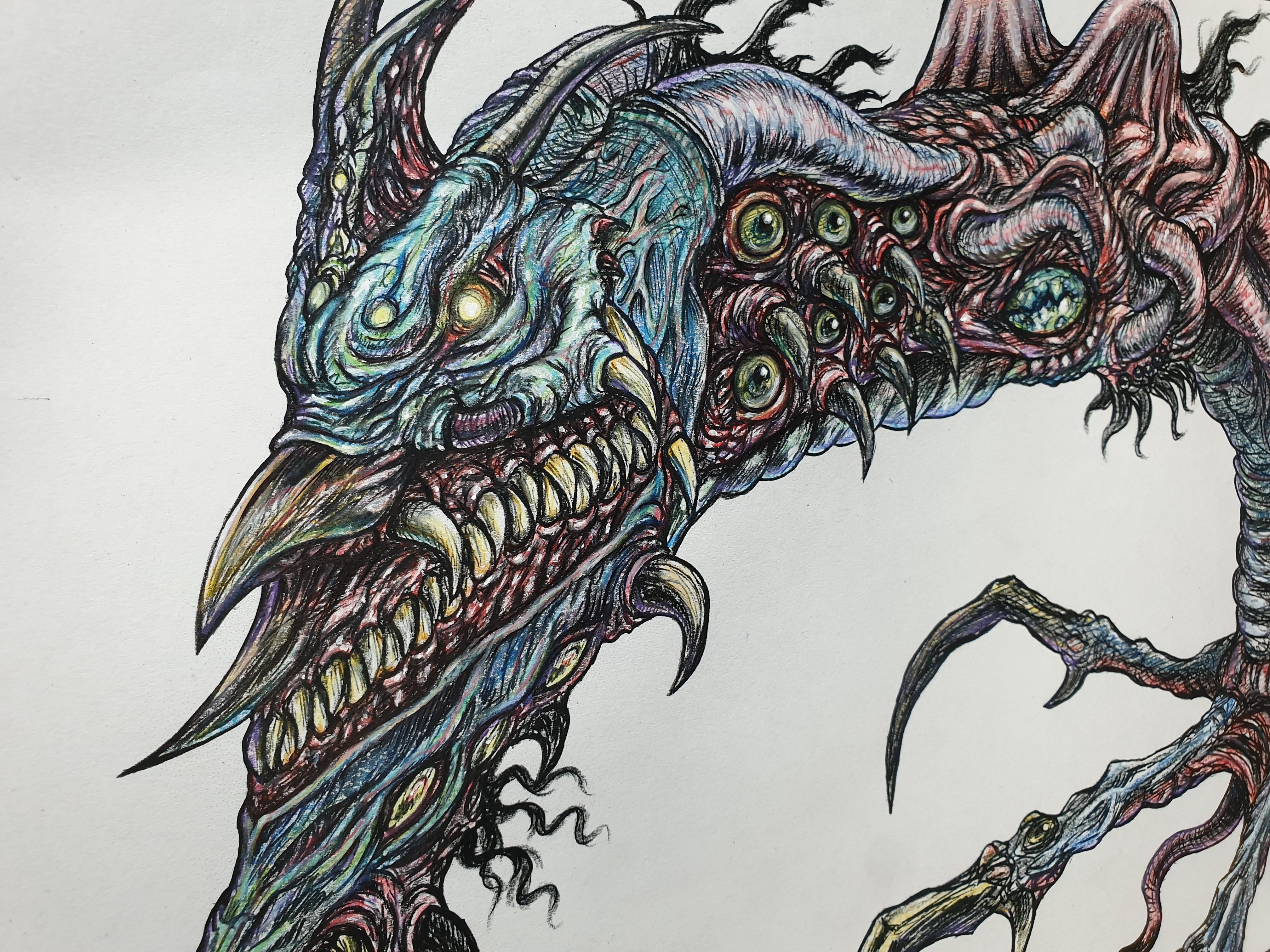 괴물 색연필 색칠/몬스터 드로잉/크리쳐디자인