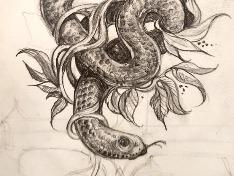 [손그림]뱀과 식물
