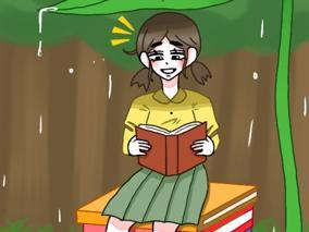 비오는날 숲속에서 책을 읽는 소녀