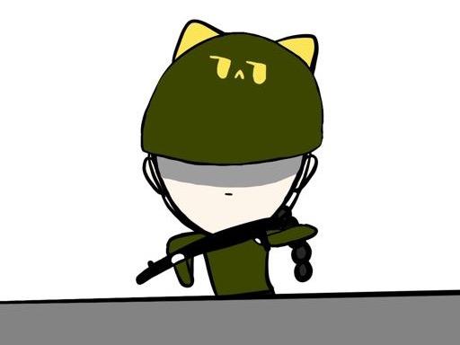 무심한 고양이 군인