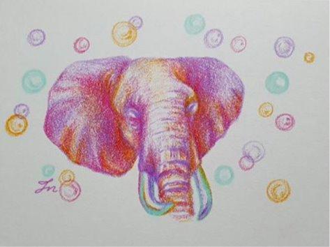 코끼리의 몽환.꿈 _ 동물 일러스트 색연필그림